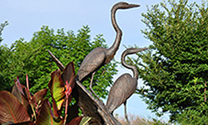 Scupture of two herons at Riverbank Discovery Centre, Brandon, Manitoba